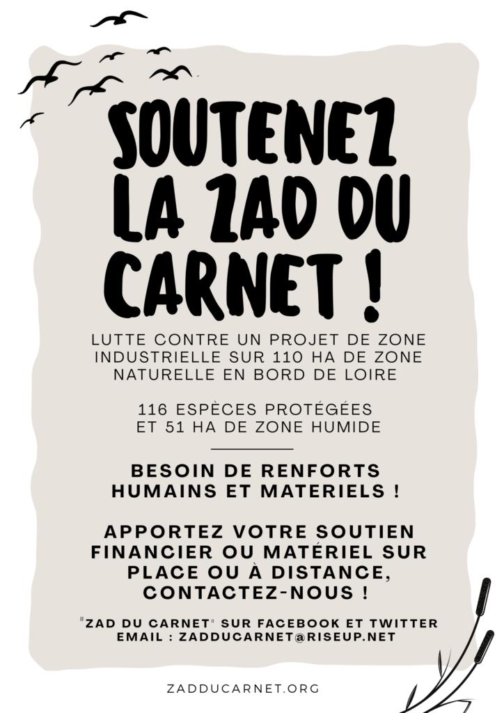 Affiche de soutien à la ZAD du Carnet